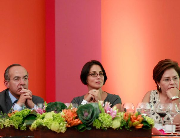 resident of Mexico Felipe Calderón, Armina Wolpert (Arminas Travel) and Mrs. Patricia Espinoza (Foreign Secretary)